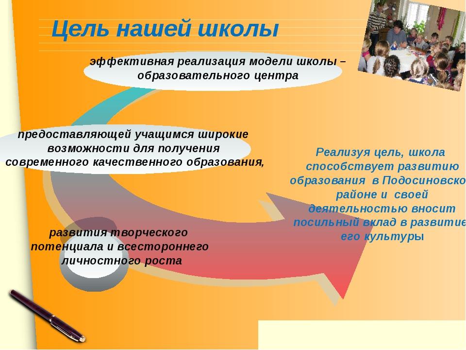 Цель нашей школы предоставляющей учащимся широкие возможности для получения с...