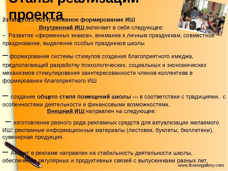 Этапы реализации проекта 2этап.(2013-2014) Активное формирование ИШ Внутренни...