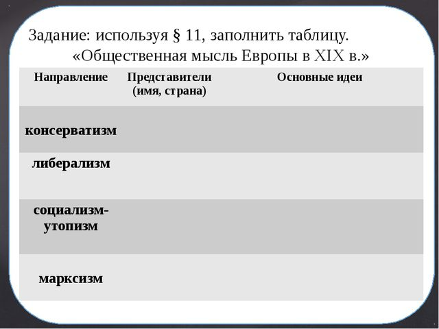 Задание: используя § 11, заполнить таблицу. «Общественная мысль Европы в XIX...