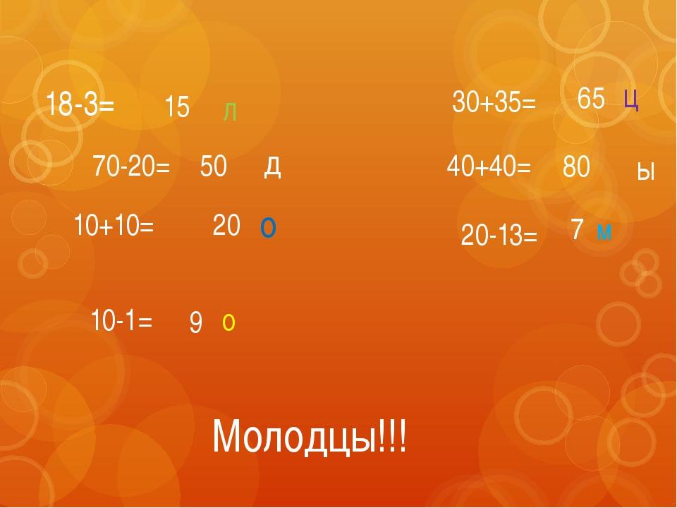 18-3= 70-20= 10+10= 10-1= 30+35= 40+40= 20-13= 15 50 20 9 65 80 7 м о л о д ц...