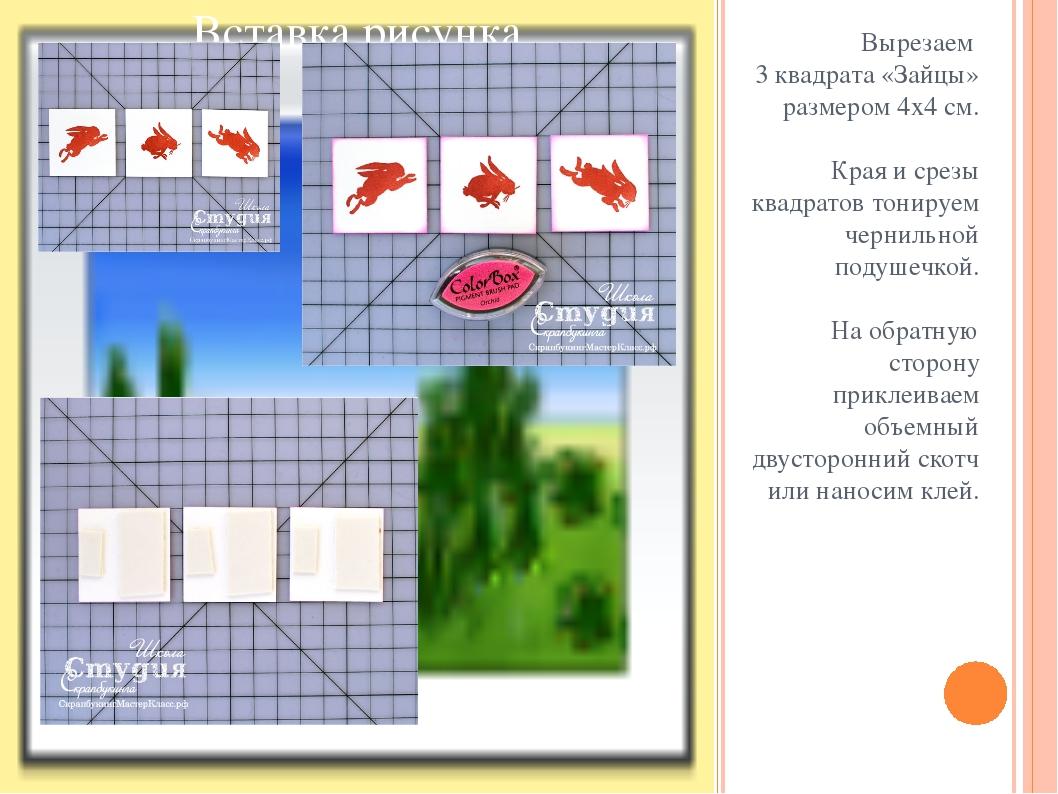 Вырезаем 3 квадрата «Зайцы» размером 4х4 см. Края и срезы квадратов тонируем...