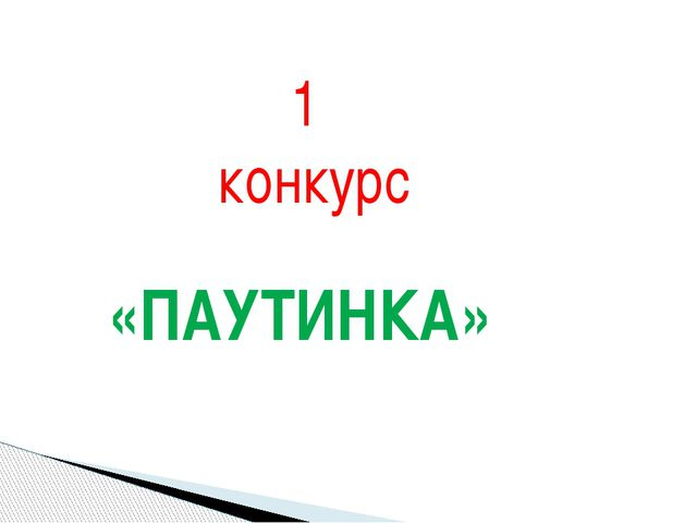 1 конкурс «ПАУТИНКА»
