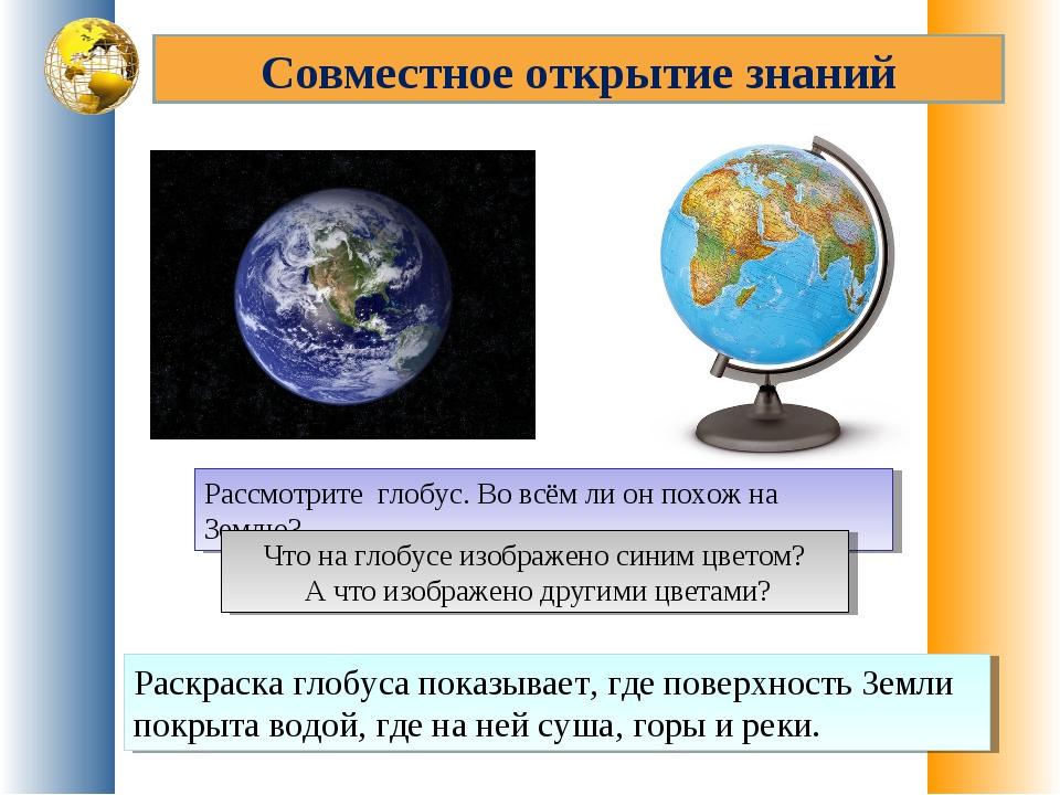Совместное открытие знаний Рассмотрите глобус. Во всём ли он похож на Землю?...