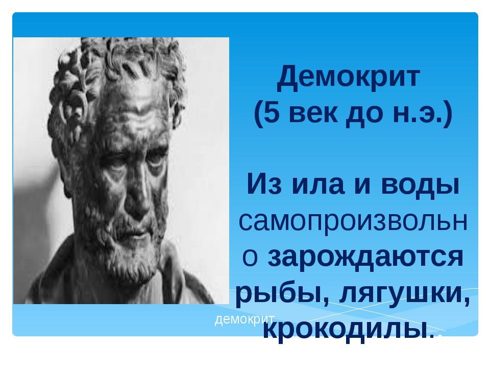 Демокрит (5 век до н.э.) Из ила и воды самопроизвольно зарождаются рыбы, лягу...