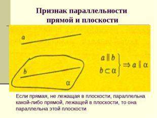 Признак параллельности прямой и плоскости Если прямая, не лежащая в плоскост