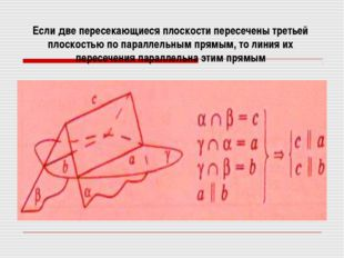 Если две пересекающиеся плоскости пересечены третьей плоскостью по параллельн
