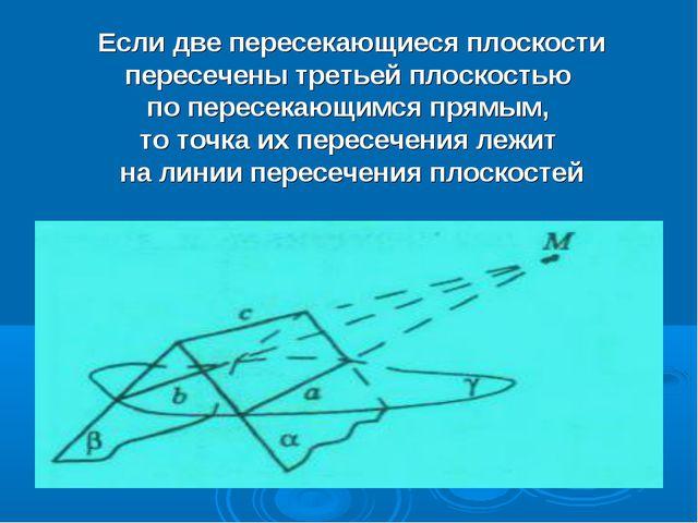 Если две пересекающиеся плоскости пересечены третьей плоскостью по пересекающ...