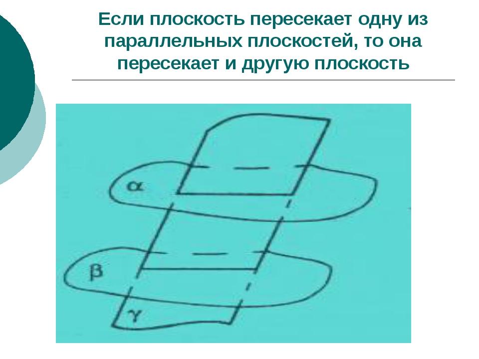 Если плоскость пересекает одну из параллельных плоскостей, то она пересекает...