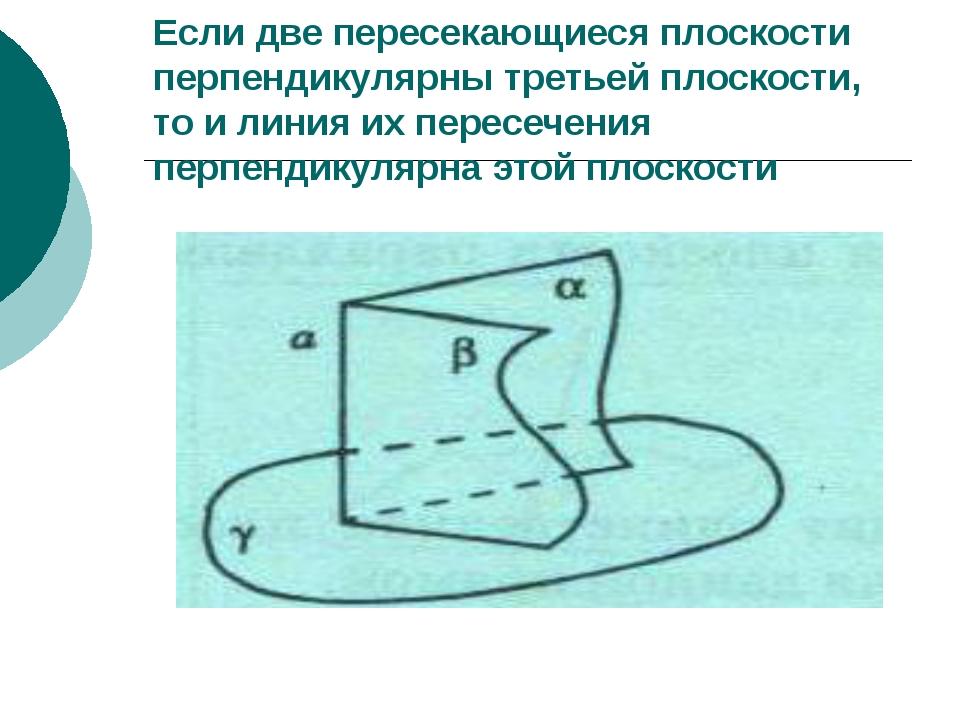 Если две пересекающиеся плоскости перпендикулярны третьей плоскости, то и лин...
