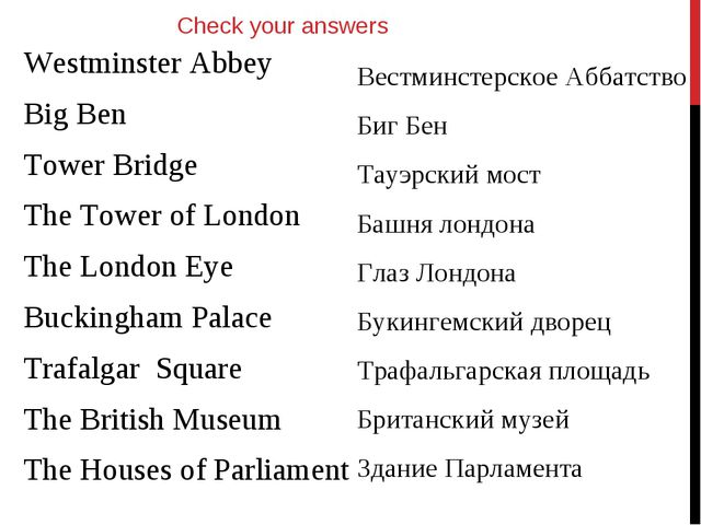 Westminster Abbey Big Ben Tower Bridge The Tower of London The London Eye Buc...