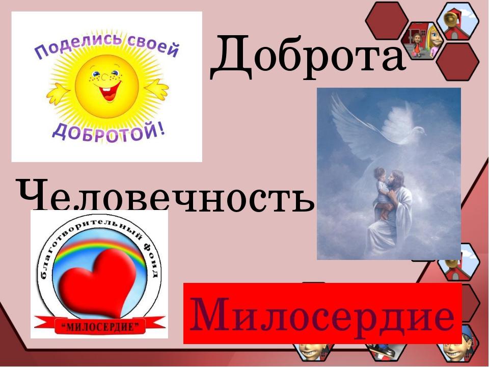 Милосердие Доброта Человечность