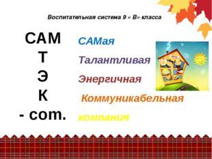 Воспитательная система 9 « В» класса САМ Т Э К - com. САМая Талантливая Энерг