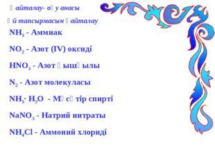 Қайталау- оқу анасы Үй тапсырмасын қайталау NH3 - Аммиак NO2 - Азот (ІV) окс