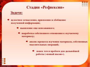 Задачи: целостное осмысление, присвоение и обобщение полученной информации;