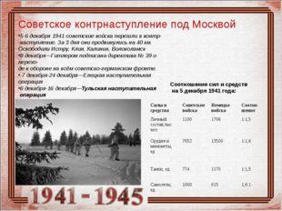 Советское контрнаступление под Москвой 5-6 декабря 1941-советские войска пере