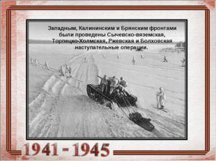 Западным, Калининским и Брянским фронтами были проведены Сычевско-вяземская,