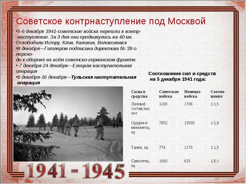 Начало контрнаступления советских войск в битве под москвой день воинской славы россии - день начала