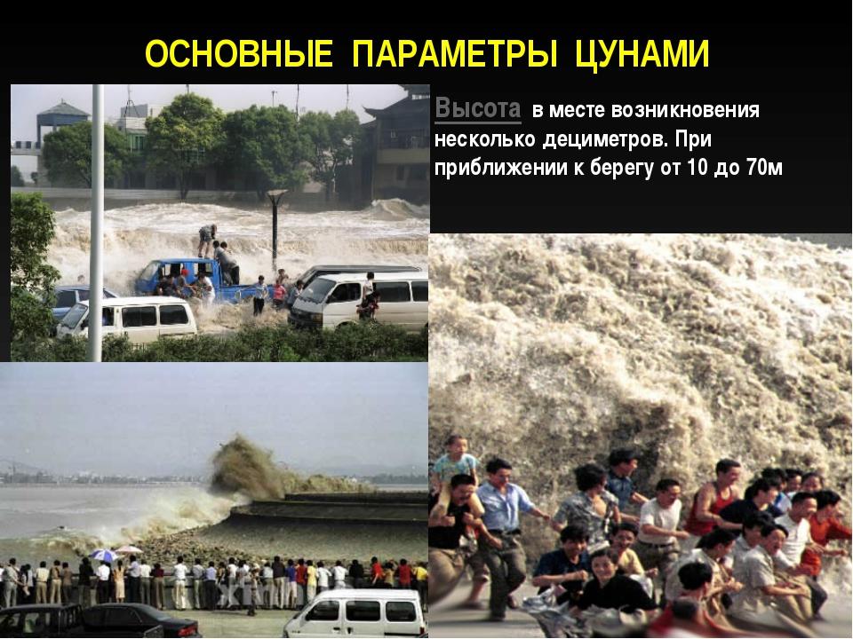 ОСНОВНЫЕ ПАРАМЕТРЫ ЦУНАМИ Период волн цунами от 5 до 90 мин Высота в месте во...