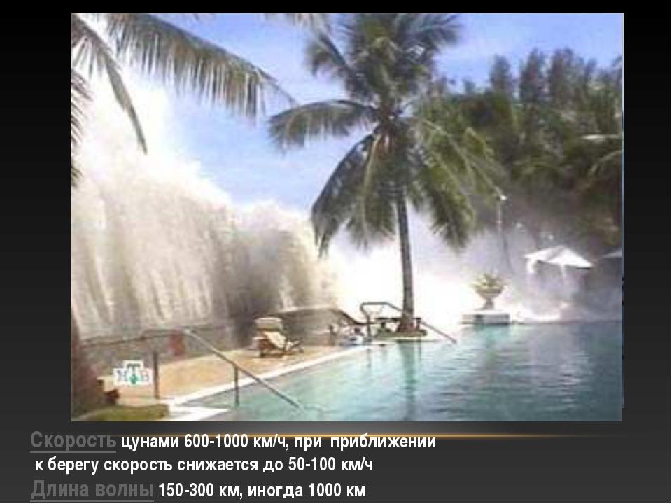 Скорость цунами 600-1000 км/ч, при приближении к берегу скорость снижается до...