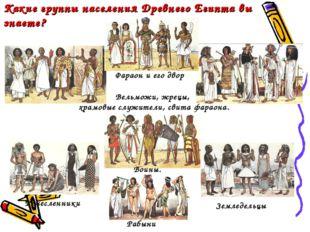 Какие группы населения Древнего Египта вы знаете? Вельможи, жрецы, храмовые с