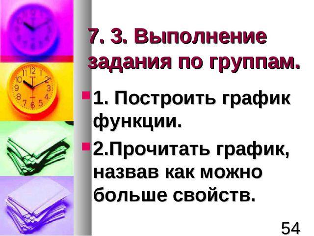 7. 3. Выполнение задания по группам. 1. Построить график функции. 2.Прочитать...