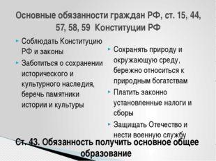 Соблюдать Конституцию РФ и законы Заботиться о сохранении исторического и кул