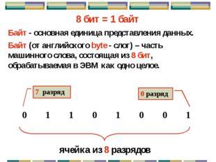 Форматы данных . . . 0 7 0 8 7 15 0 0 8 7 8 7 16 15 24 23 31 63 56 55 Байт =