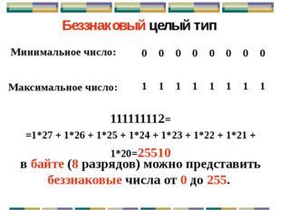 Диапазон допустимых значений для беззнаковых типов: от 0 до 2k – 1, где k – к