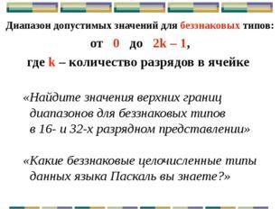 Максимальные и минимальные значения для целых N – разрядных чисел Числа без з