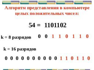 k = 16 разрядов Только беззнаковое представление 200 = 110010002 k = 8 разряд
