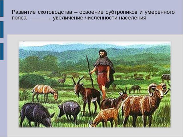 Развитие скотоводства – освоение субтропиков и умеренного пояса увеличение чи...