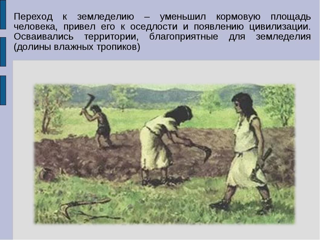 Переход к земледелию – уменьшил кормовую площадь человека, привел его к оседл...