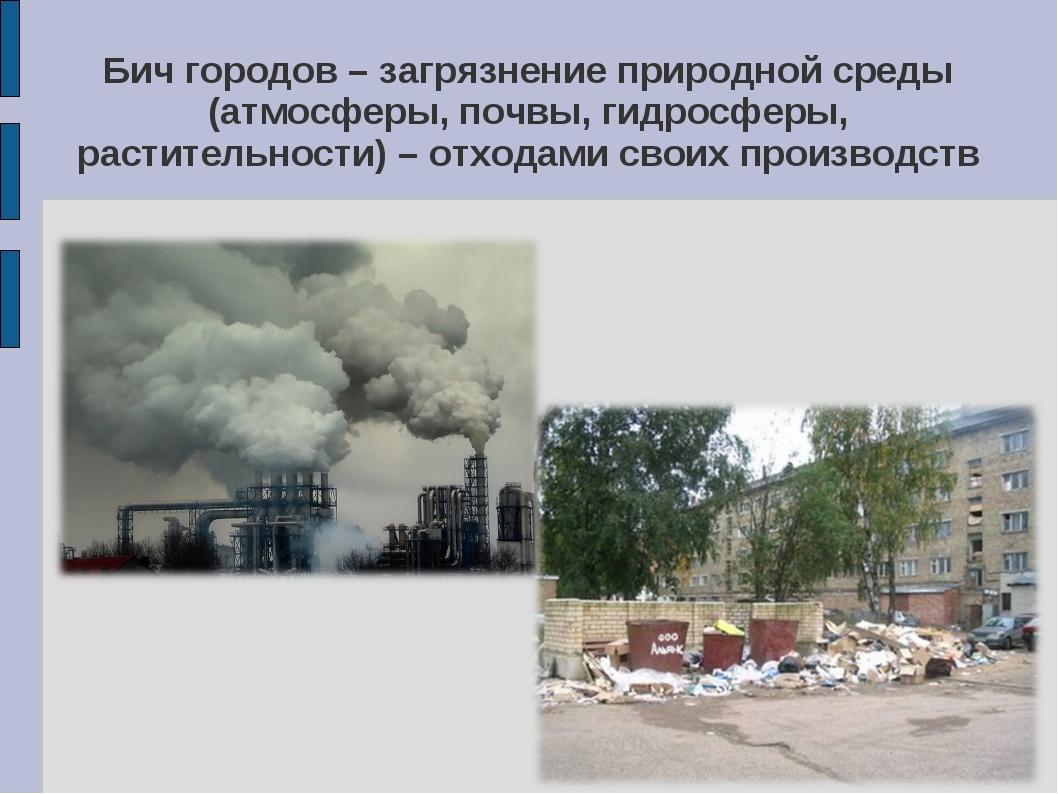 Бич городов – загрязнение природной среды (атмосферы, почвы, гидросферы, раст...