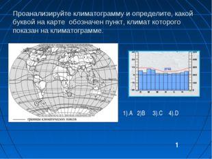 Проанализируйте климатограмму и определите, какой буквой на карте обозначен п