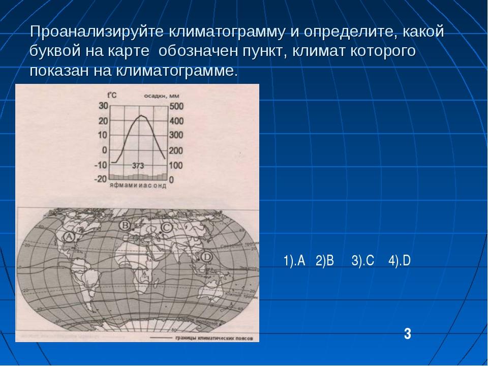 Проанализируйте климатограмму и определите, какой буквой на карте обозначен п...