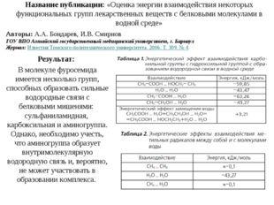 Название публикации: «Оценка энергии взаимодействия некоторых функциональных