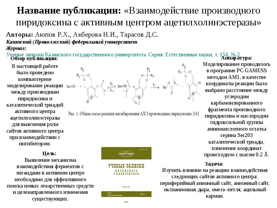 Название публикации: «Взаимодействие производного пиридоксина с активным цент...