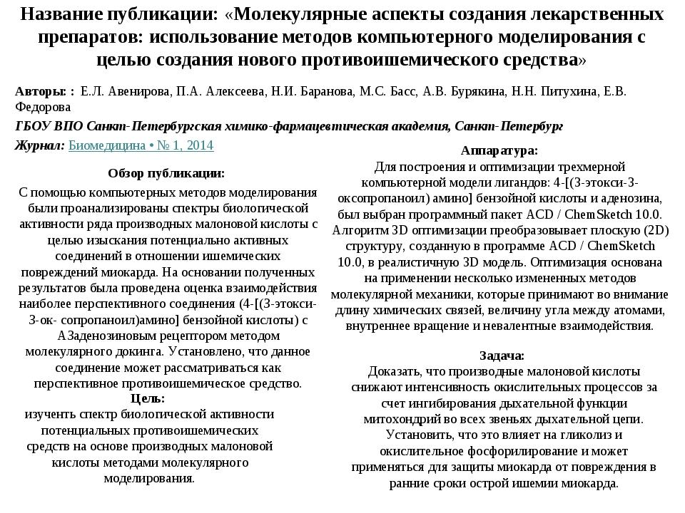 Название публикации: «Молекулярные аспекты создания лекарственных препаратов:...