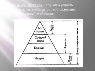 Социальная структура – это совокупность взаимосвязанных элементов , составляю