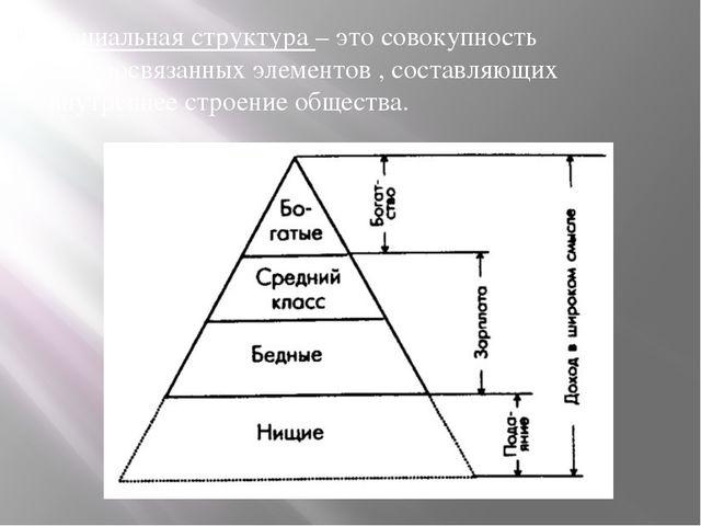 Социальная структура – это совокупность взаимосвязанных элементов , составляю...