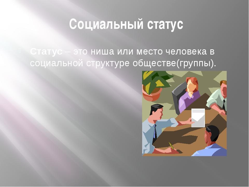 Социальный статус Статус – это ниша или место человека в социальной структур...