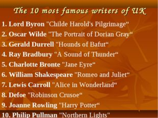 "The 10 most famous writers of UK 1. Lord Byron ""Childe Harold's Pilgrimage"" 2"