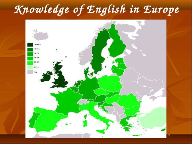 Knowledge of English in Europe