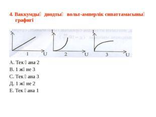 4. Ваккумдық диодтың вольт-амперлік сипаттамасының графигі  А. Тек қана 2 В.