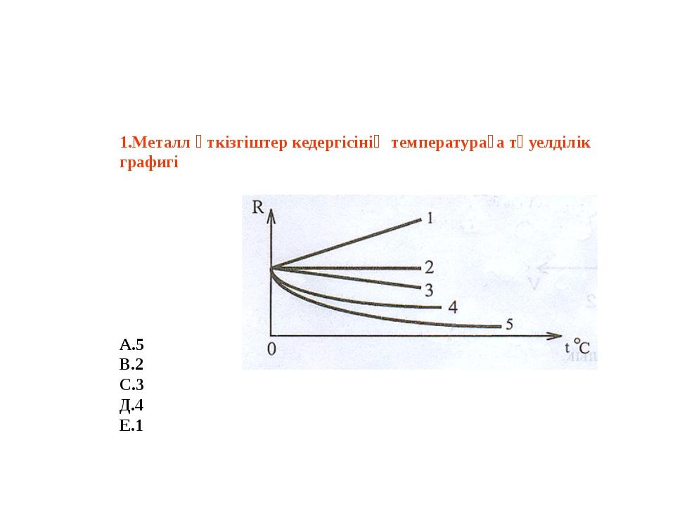 1.Металл өткізгіштер кедергісінің температураға тәуелділік графигі А.5 В.2...