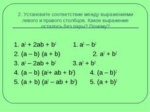 2. Установите соответствие между выражениями левого и правого столбцов. Какое