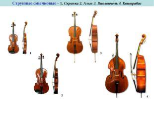 Струнные смычковые – 1. Скрипка 2. Альт 3. Виолончель 4. Контрабас 1 3 2 4