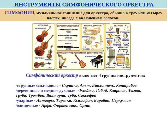 ИНСТРУМЕНТЫ СИМФОНИЧЕСКОГО ОРКЕСТРА Симфонический оркестр включает 4 группы...