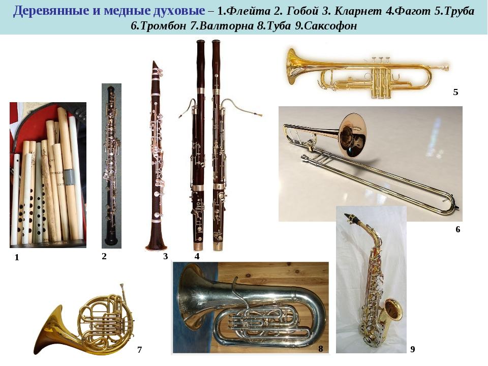 Деревянные и медные духовые – 1.Флейта 2. Гобой 3. Кларнет 4.Фагот 5.Труба 6....