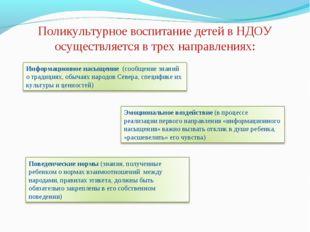 Поликультурное воспитание детей в НДОУ осуществляется в трех направлениях: